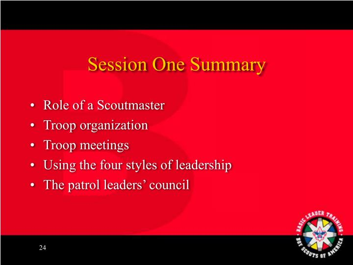 Session One Summary