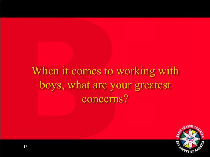 When it comes to working with boys, what are your greatest concerns?