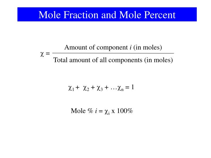 Mole Fraction and Mole Percent