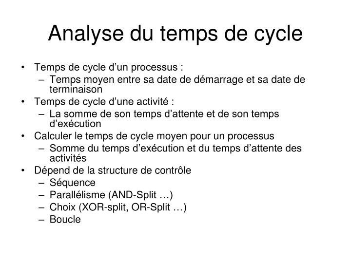 Analyse du temps de cycle