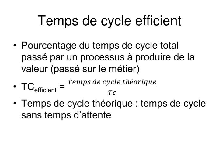 Temps de cycle efficient
