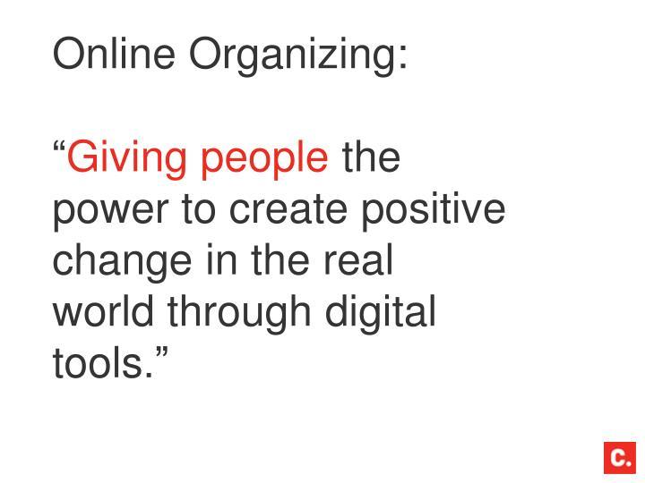 Online Organizing: