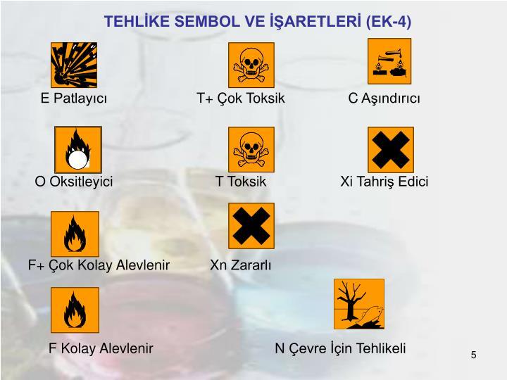 TEHLİKE SEMBOL VE İŞARETLERİ (EK-4)