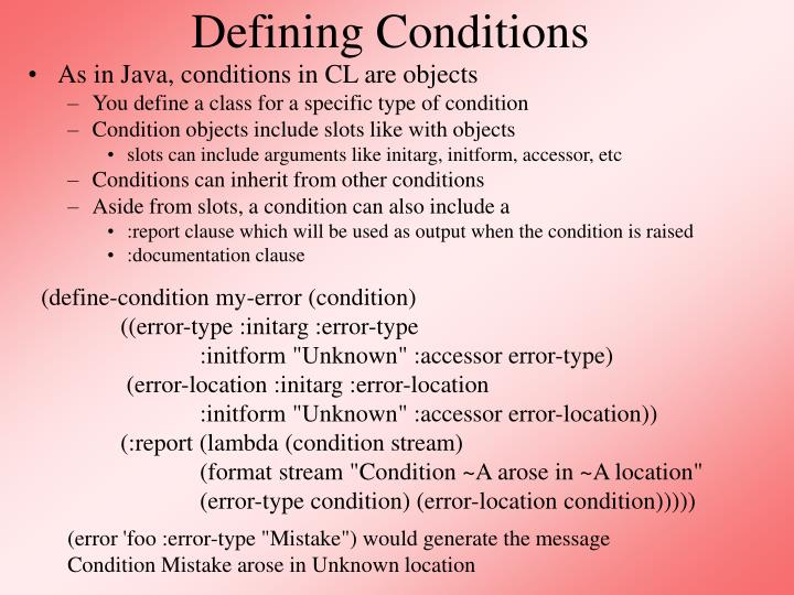 Defining Conditions