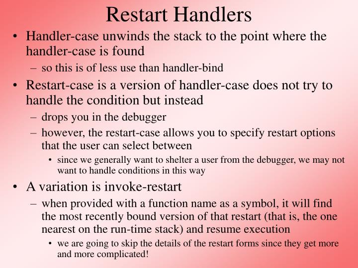 Restart Handlers