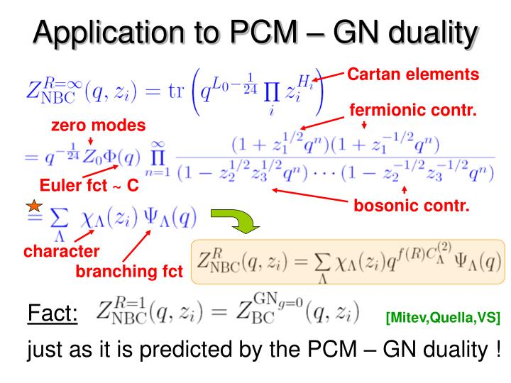 Application to PCM – GN duality