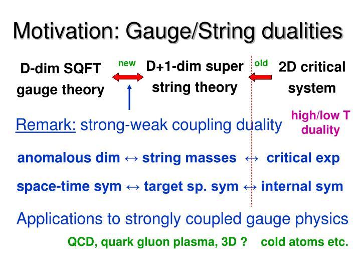 Motivation: Gauge/String dualities