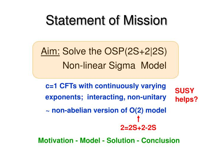 Statement of mission