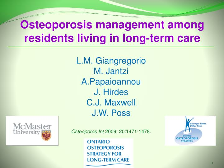 Osteoporosis management among residents living in long-term care