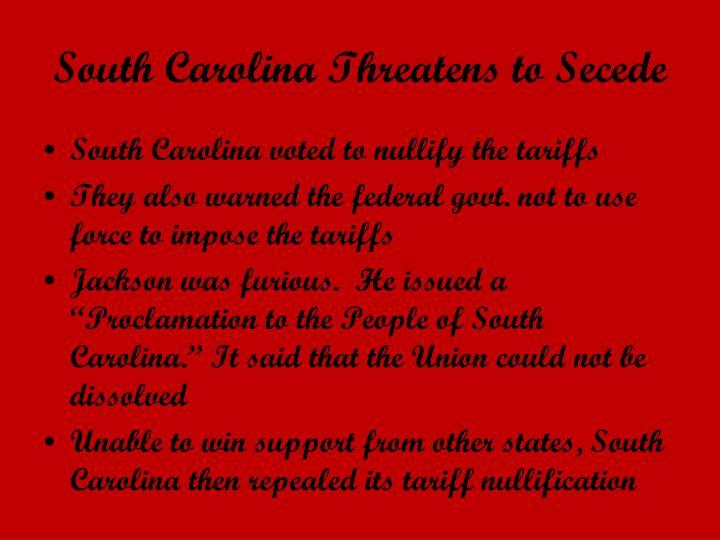 South Carolina Threatens to Secede
