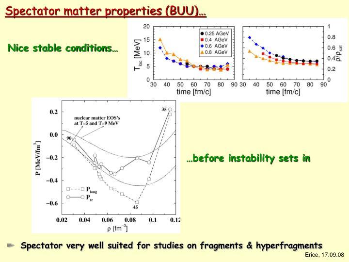 Spectator matter properties (BUU)…