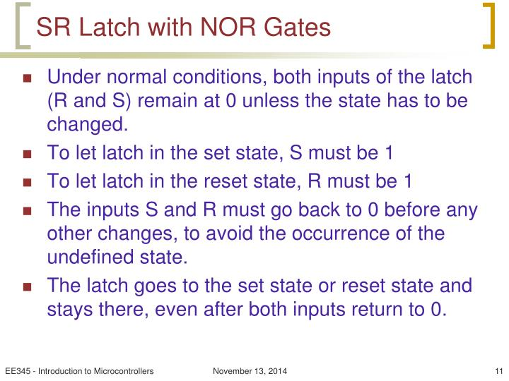 SR Latch with NOR Gates