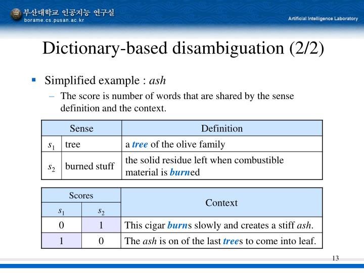 Dictionary-based disambiguation (2/2)