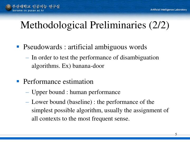 Methodological Preliminaries (2/2)