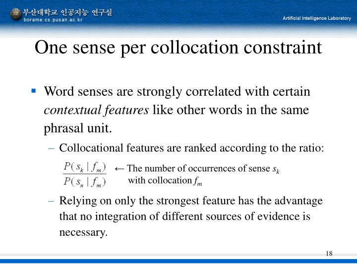 One sense per collocation constraint