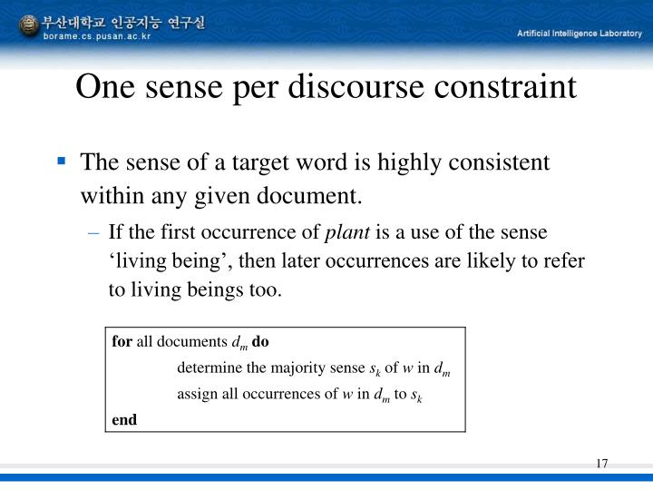One sense per discourse constraint
