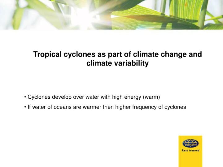 Tropical cyclones as part of climate change and climate variability