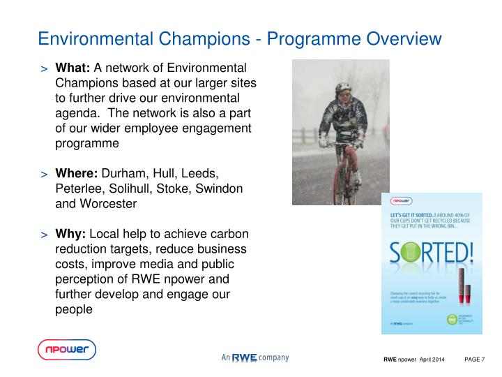 Environmental Champions - Programme Overview