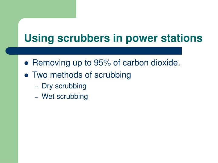 Using scrubbers in power stations