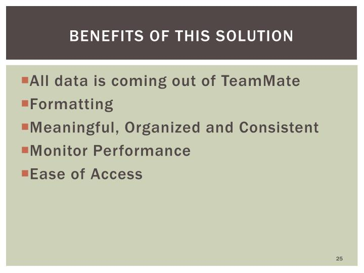 Benefits of this solution
