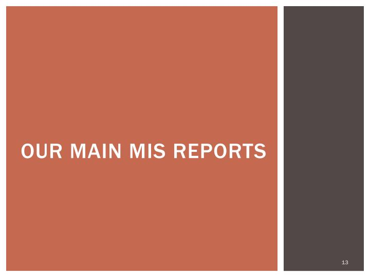 Our Main MIS Reports