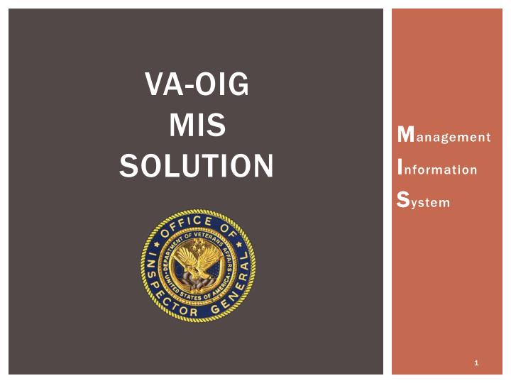 Va oig mis solution