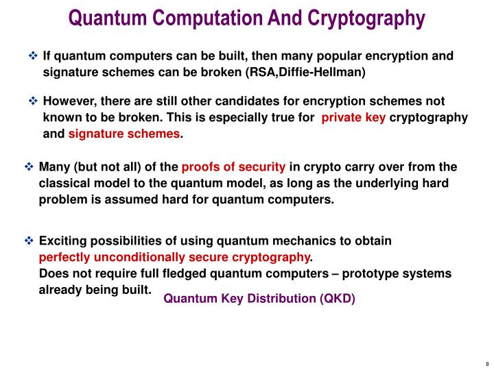 Quantum Computation And Cryptography