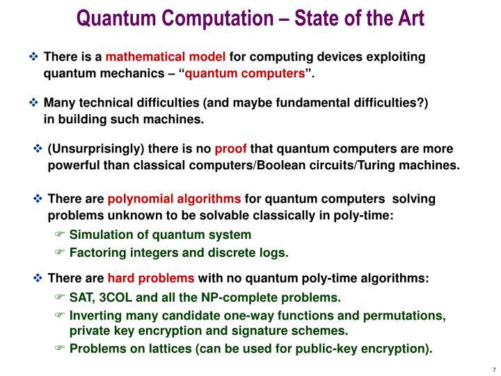 Quantum Computation – State of the Art