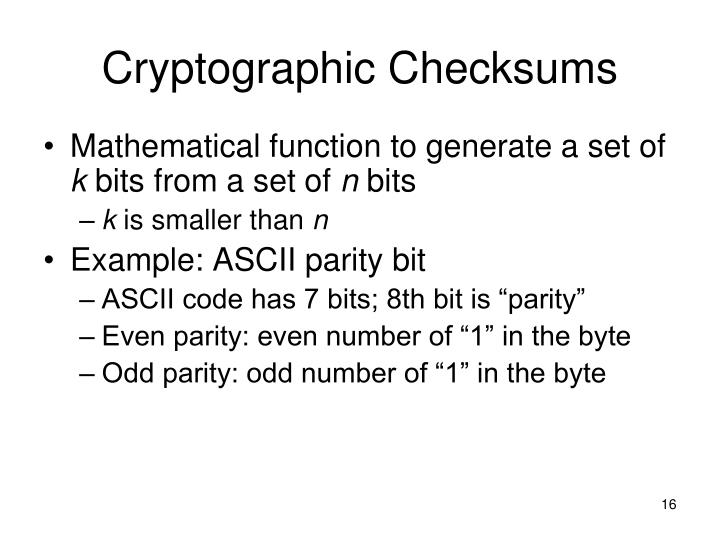 Cryptographic Checksums