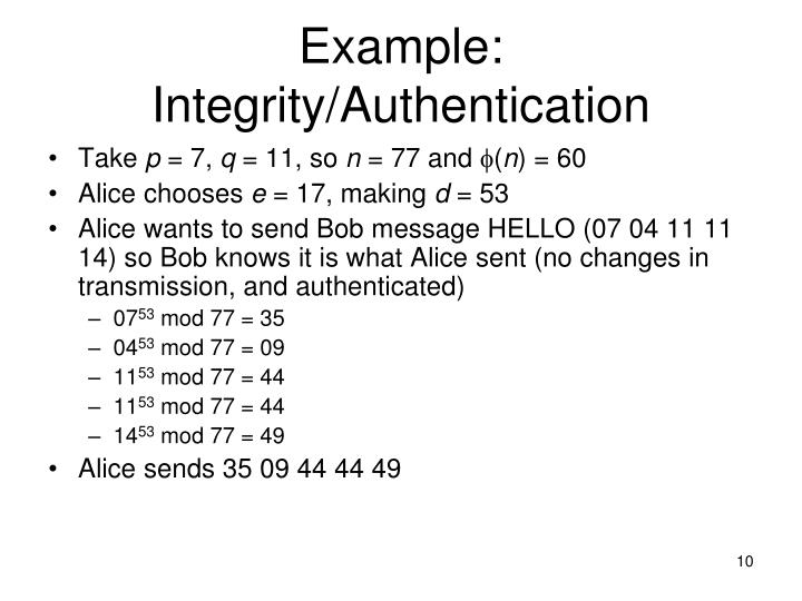 Example: Integrity/Authentication