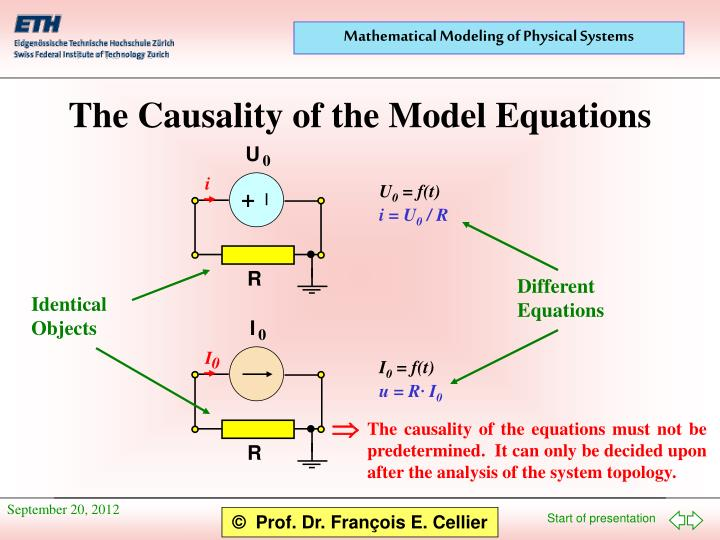 The causality of the model equations