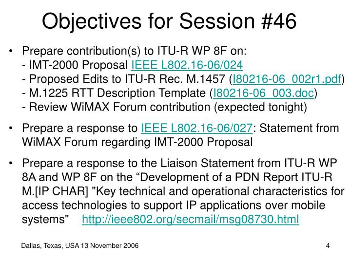 Objectives for Session #46