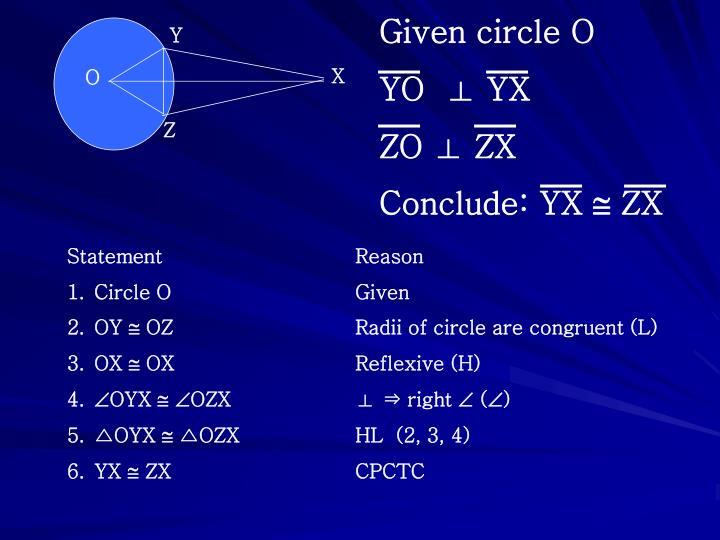 Given circle O
