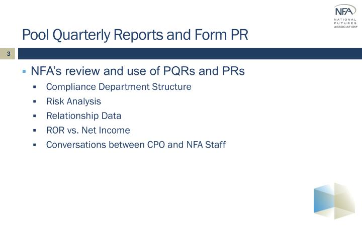 Pool Quarterly Reports and Form PR