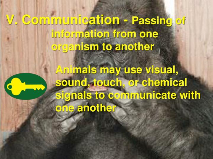 V. Communication -