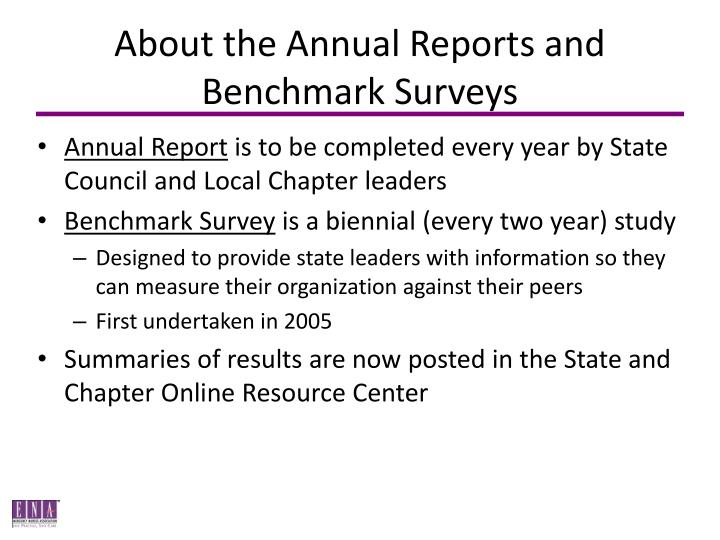 About the Annual Reports and Benchmark Surveys