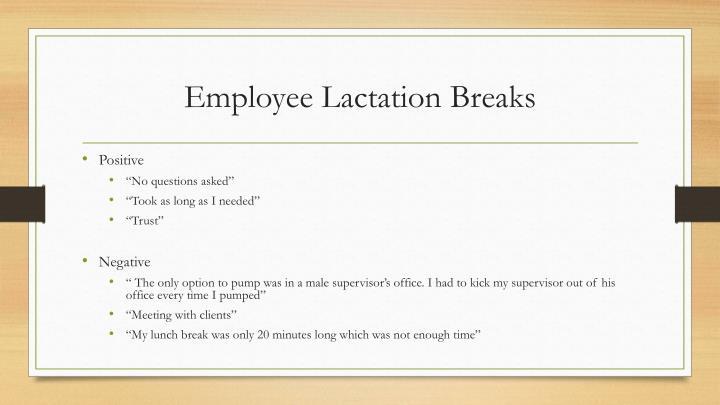 Employee Lactation Breaks