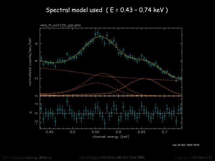 Spectral model used  ( E = 0.43 – 0.74 keV )