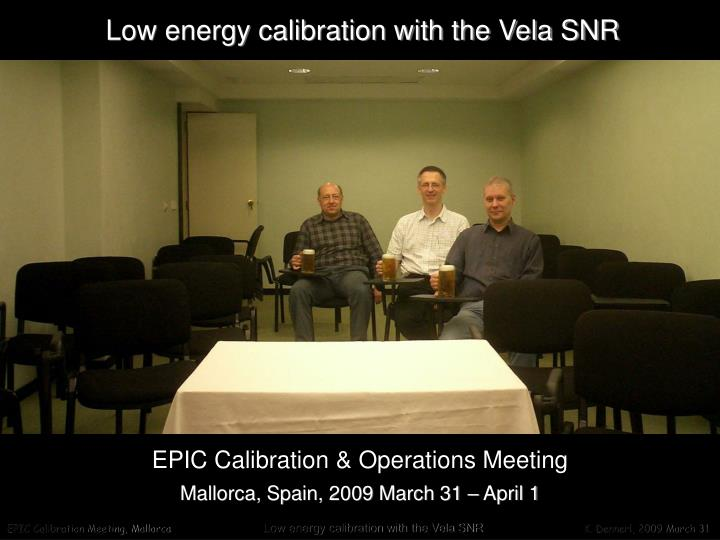 Low energy calibration with the Vela SNR