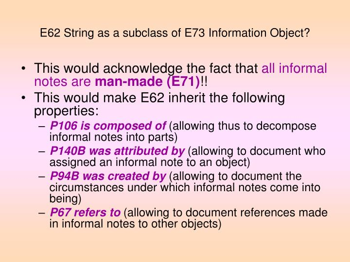 E62 String as a subclass of E73 Information Object?