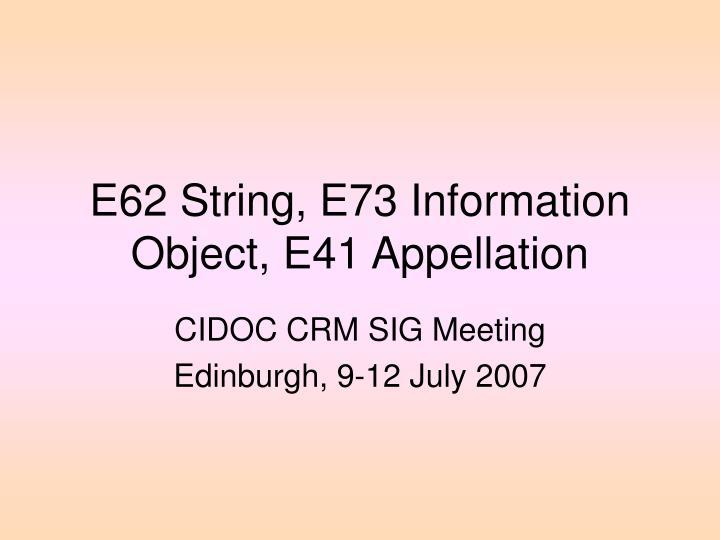 E62 String, E73 Information Object, E41 Appellation