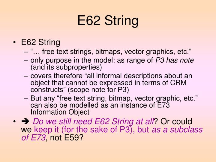 E62 String