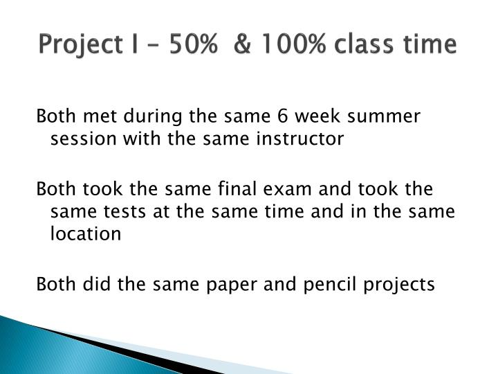 Project I – 50%  & 100% class time