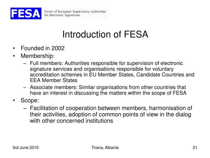 Introduction of FESA