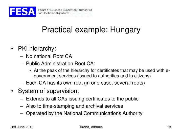 Practical example: Hungary