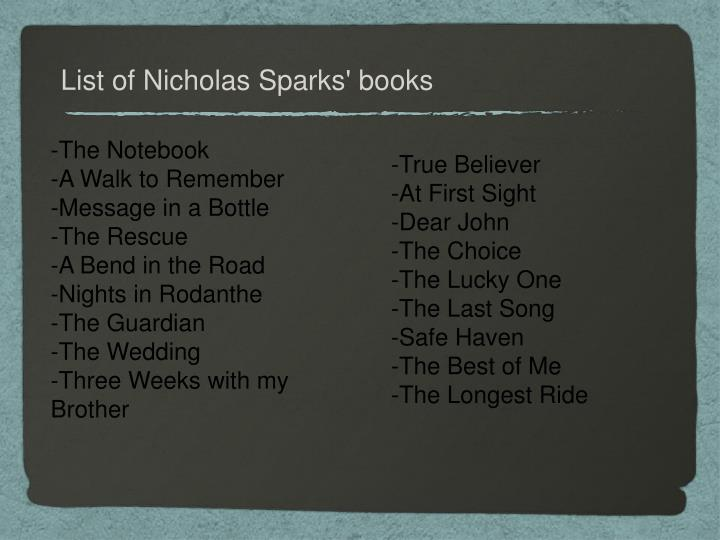 List of Nicholas Sparks' books