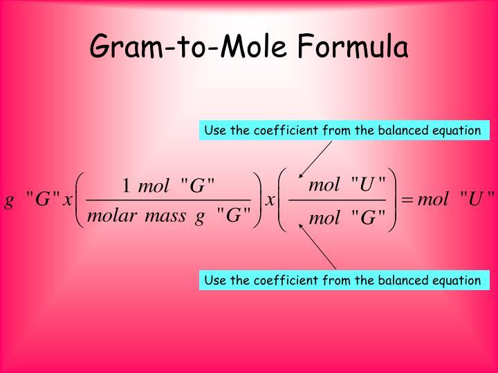 Gram-to-Mole Formula