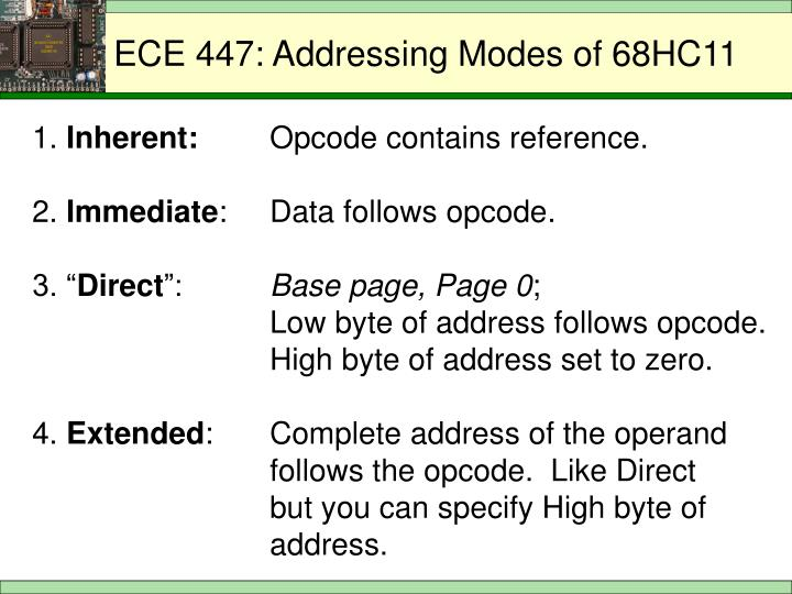 ECE 447: Addressing Modes of 68HC11