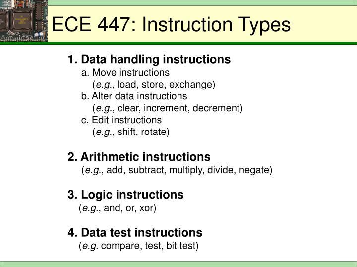 ECE 447: Instruction Types