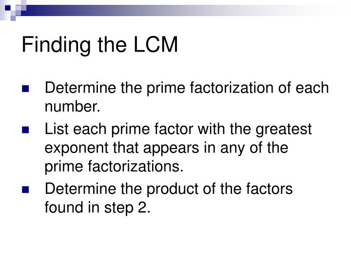 Finding the LCM